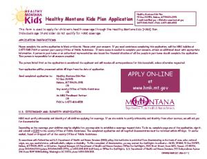 Healthy Montana Kids Plan Application