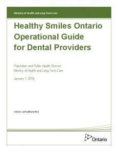 Healthy Smiles Ontario Operational Guide for Dental Providers