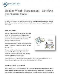Healthy Weight Management - Watching your Calorie Intake