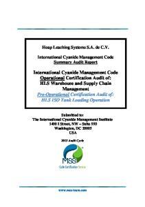 Heap Leaching Systems S.A. de C.V. International Cyanide Management Code Summary Audit Report