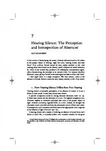 Hearing Silence: The Perception and Introspection of Absences 1
