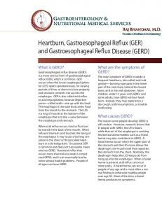 Heartburn, Gastroesophageal Reflux (GER) and Gastroesophageal Reflux Disease (GERD)