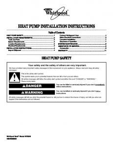HEAT PUMP INSTALLATION INSTRUCTIONS