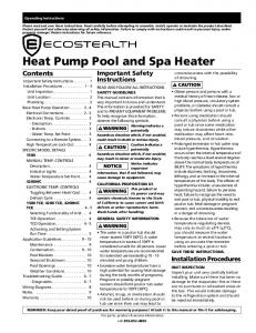 Heat Pump Pool and Spa Heater