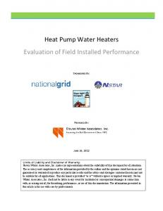 Heat Pump Water Heaters Evaluation of Field Installed Performance