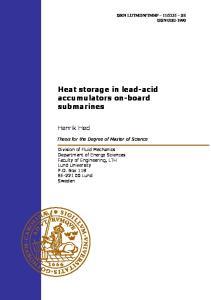 Heat storage in lead-acid accumulators on-board submarines