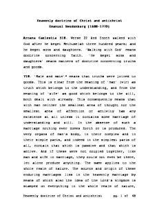 Heavenly doctrine of Christ and antichrist Emanuel Swedenborg ( )