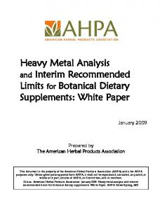 Heavy Metal Analysis. Limits for Botanical Dietary Supplements: White Paper