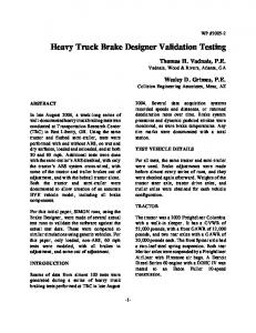 Heavy Truck Brake Designer Validation Testing
