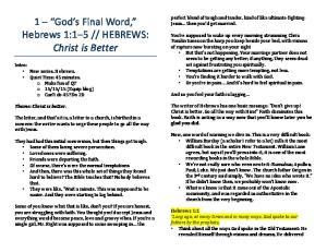 HEBREWS: Christ is Better