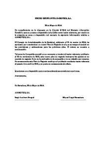 HECHO RELEVANTE AB-BIOTICS, S.A. 22 de Mayo de 2014
