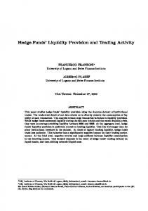 Hedge Funds Liquidity Provision and Trading Activity