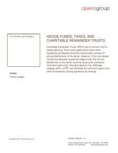 HEDGE FUNDS, TAXES, AND CHARITABLE REMAINDER TRUSTS
