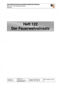 Heft 122 Der Feuerwehreinsatz