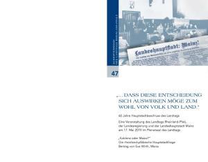 Heft 47 der Schriftenreihe des Landtags Rheinland-Pfalz ISSN