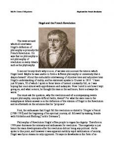 Hegel and the French Revolution