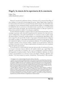 Hegel y la ciencia de la experiencia de la conciencia