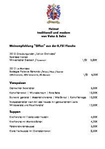 Heimat traditionell und modern von Vater & Sohn. Weinempfehlung