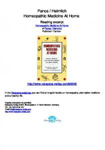 Heimlich Homeopathic Medicine At Home