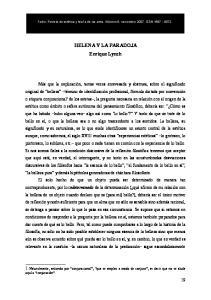 HELENA Y LA PARADOJA Enrique Lynch