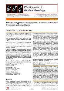 Helicobacter pylori associated gastric intestinal metaplasia: