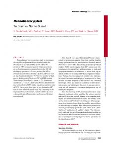 Helicobacter pylori To Stain or Not to Stain?