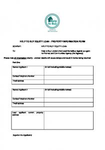 HELP TO BUY EQUITY LOAN - PROPERTY INFORMATION FORM