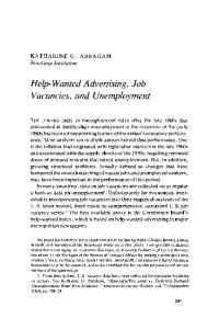 Help-Wanted Advertising, Job Vacancies, and Unemployment
