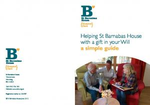 Helping St Barnabas House with a gift in your Will a simple guide