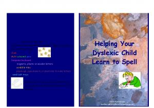 Helping Your Dyslexic Child Learn to Spell