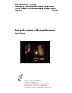 Helsinki University of Technology Publications in Telecommunications Software and Multimedia
