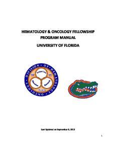 HEMATOLOGY & ONCOLOGY FELLOWSHIP PROGRAM MANUAL UNIVERSITY OF FLORIDA