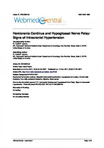 Hemicrania Continua and Hypoglossal Nerve Palsy: Signs of Intracranial Hypertension