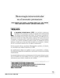 Hemorragia intraventricular en el neonato prematuro