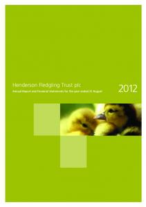 Henderson Fledgling Trust plc. Annual Report and Financial Statements for the year ended 31 August 2012