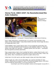 Henry Ford, : He Revolutionized the Auto Industry
