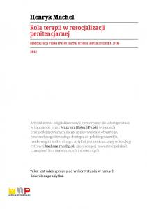 Henryk Machel Rola terapii w resocjalizacji penitencjarnej. Resocjalizacja Polska (Polish Journal of Social Rehabilitation) 3, 17-34