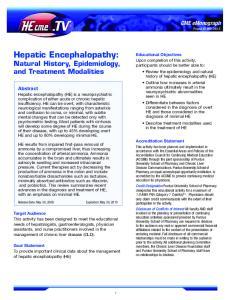 Hepatic Encephalopathy: Natural History, Epidemiology, and Treatment Modalities