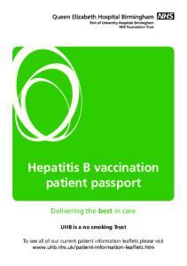 Hepatitis B vaccination patient passport