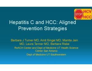 Hepatitis C and HCC: Aligned Prevention Strategies