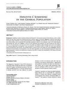 Hepatitis C Screening in the General Population