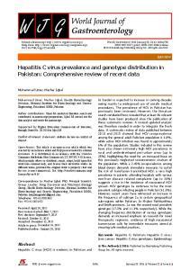 Hepatitis C virus prevalence and genotype distribution in Pakistan: Comprehensive review of recent data