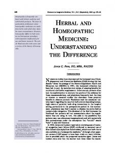 HERBAL AND HOMEOPATHIC MEDICINE: UNDERSTANDING