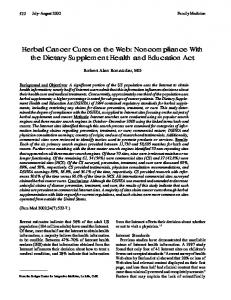 Herbal Cancer Cures on the Web: Noncompliance With the Dietary Supplement Health and Education Act