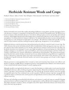 Herbicide Resistant Weeds and Crops