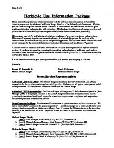 Herbicide Use Information Package