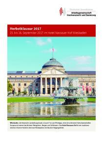 Herbstklausur bis 16. September 2017 im Hotel Nassauer Hof Wiesbaden