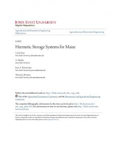 Hermetic Storage Systems for Maize
