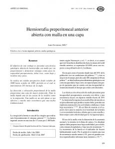 Herniorrafia preperitoneal anterior abierta con malla en una capa