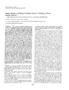 Herpes Simplex and Herpes Genitalis Viruses in Etiology of Some